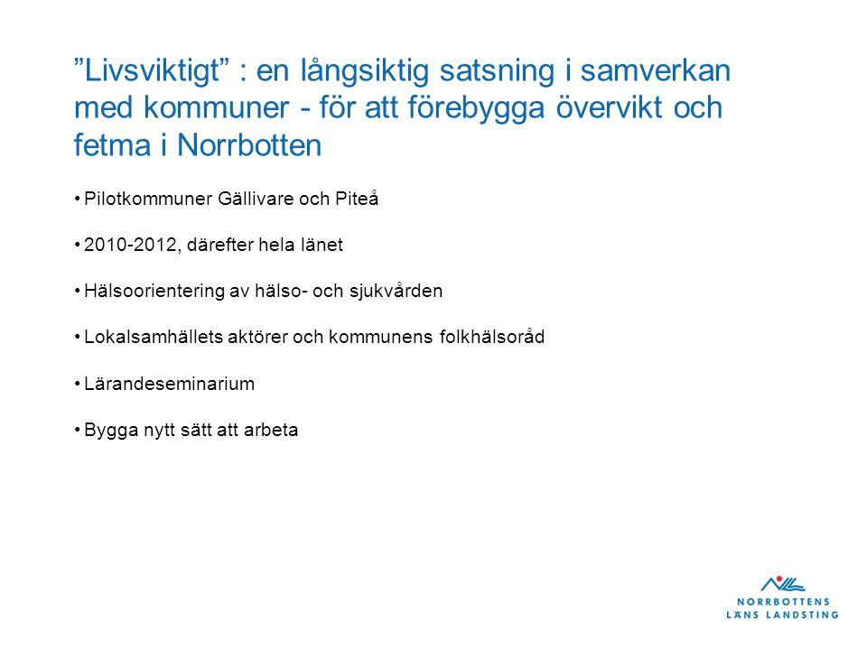"""""""Livsviktigt"""" : en långsiktig satsning i samverkan med kommuner - för att förebygga övervikt och fetma i Norrbotten Pilotkommuner Gällivare och Piteå"""