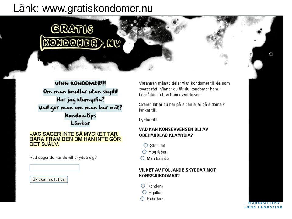 Länk: www.gratiskondomer.nu