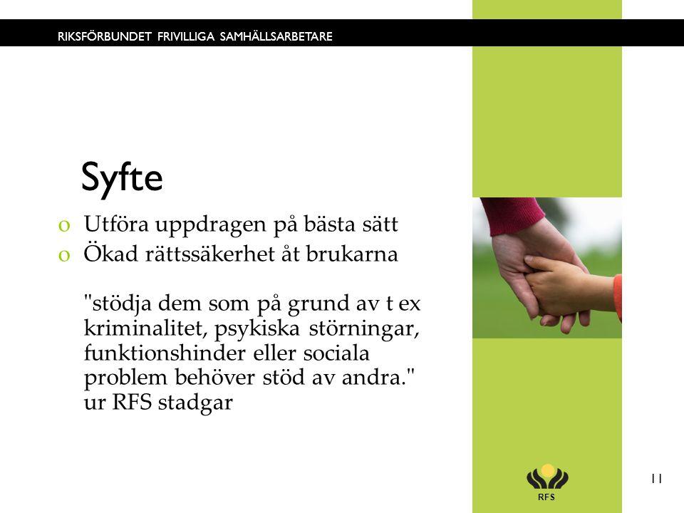 RFS 11 RIKSFÖRBUNDET FRIVILLIGA SAMHÄLLSARBETARE Syfte oUtföra uppdragen på bästa sätt oÖkad rättssäkerhet åt brukarna stödja dem som på grund av t ex kriminalitet, psykiska störningar, funktionshinder eller sociala problem behöver stöd av andra. ur RFS stadgar