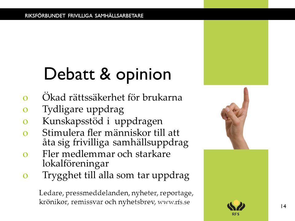 RFS 14 RIKSFÖRBUNDET FRIVILLIGA SAMHÄLLSARBETARE Debatt & opinion oÖkad rättssäkerhet för brukarna oTydligare uppdrag oKunskapsstöd i uppdragen oStimu