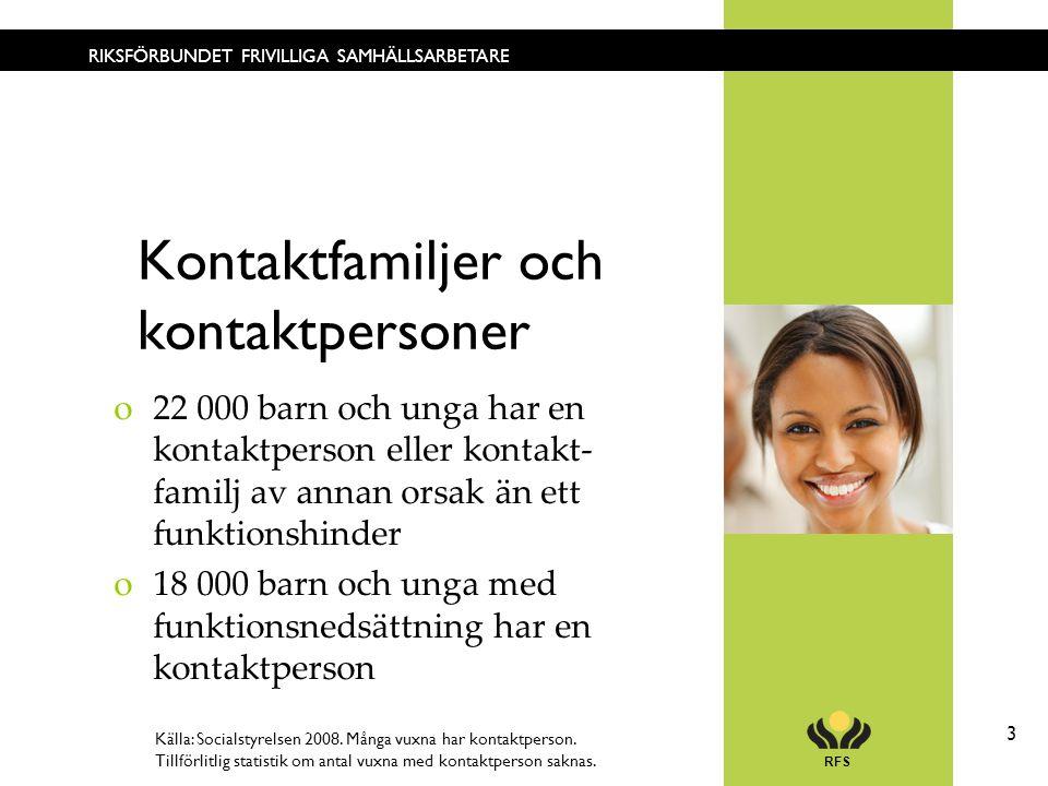 RFS 3 RIKSFÖRBUNDET FRIVILLIGA SAMHÄLLSARBETARE Kontaktfamiljer och kontaktpersoner o22 000 barn och unga har en kontaktperson eller kontakt- familj a