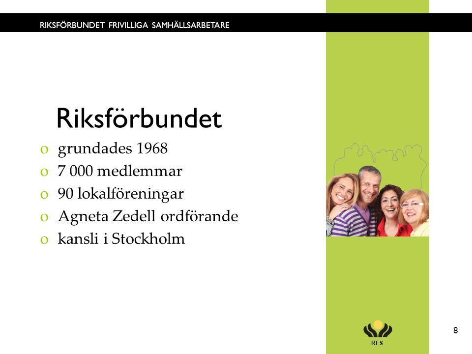 RFS 8 RIKSFÖRBUNDET FRIVILLIGA SAMHÄLLSARBETARE ogrundades 1968 o7 000 medlemmar o90 lokalföreningar oAgneta Zedell ordförande okansli i Stockholm Rik