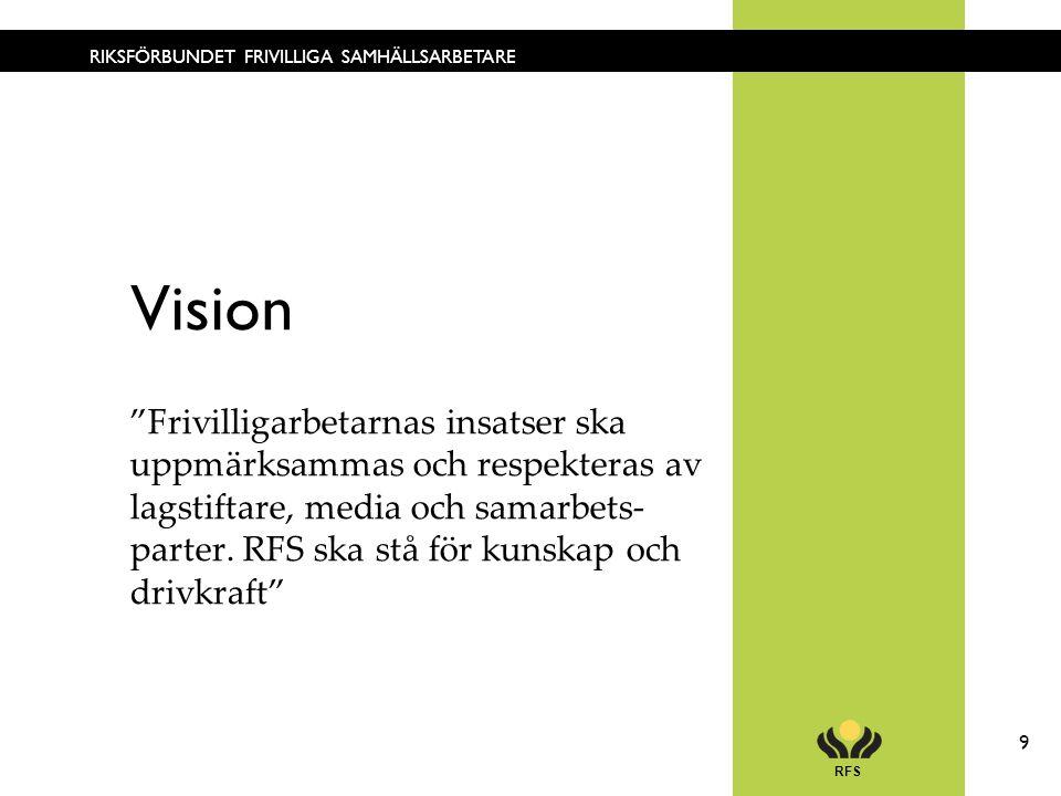 RFS 9 RIKSFÖRBUNDET FRIVILLIGA SAMHÄLLSARBETARE Vision Frivilligarbetarnas insatser ska uppmärksammas och respekteras av lagstiftare, media och samarbets- parter.