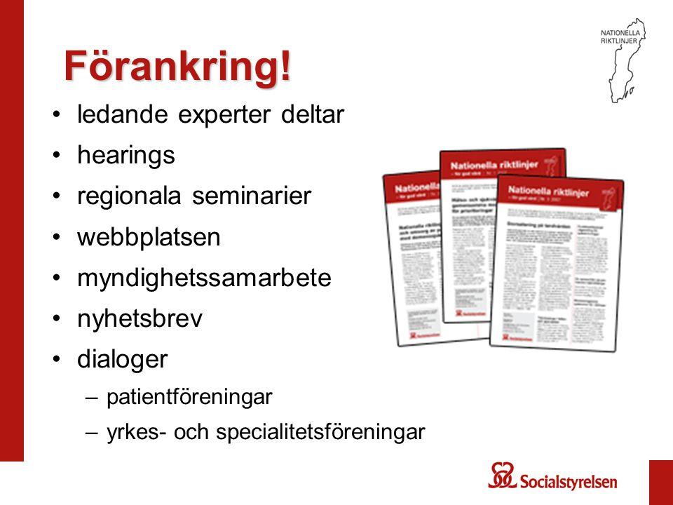 Förankring! ledande experter deltar hearings regionala seminarier webbplatsen myndighetssamarbete nyhetsbrev dialoger –patientföreningar –yrkes- och s