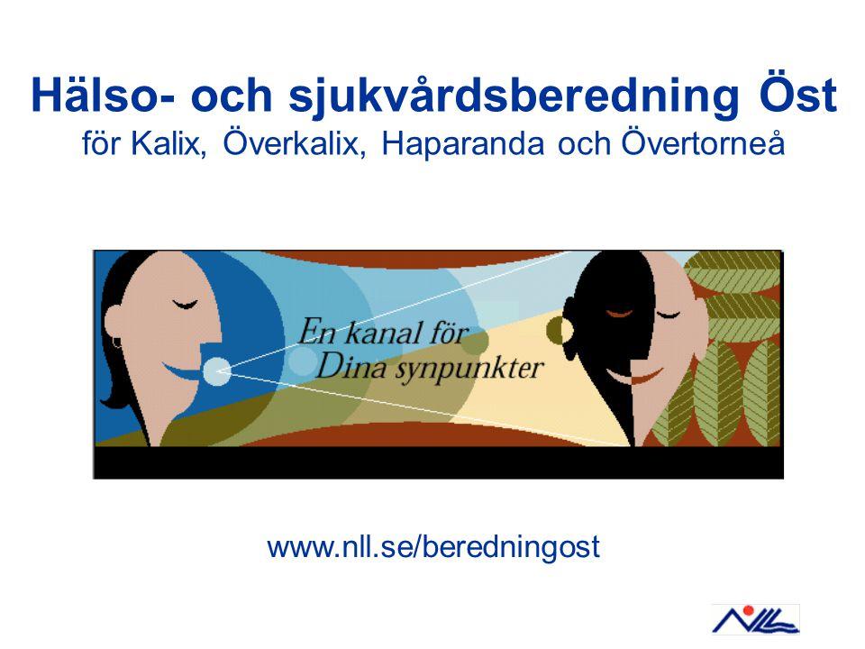 Hälso- och sjukvårdsberedning Öst för Kalix, Överkalix, Haparanda och Övertorneå www.nll.se/beredningost