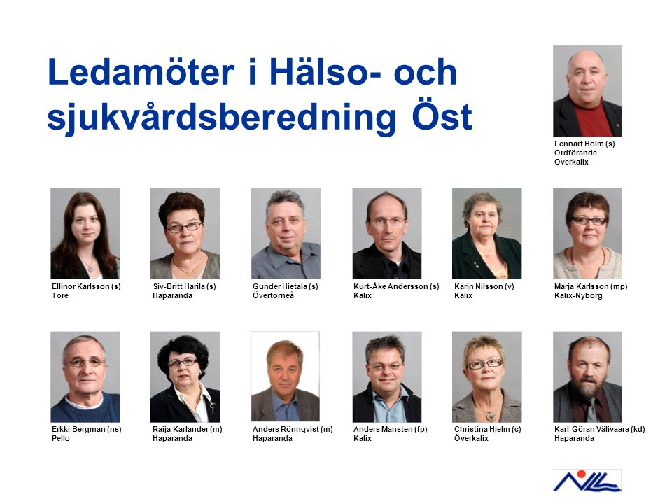 Ledamöter i Hälso- och sjukvårdsberedning Öst Ellinor Karlsson (s) Töre Siv-Britt Harila (s) Haparanda Lennart Holm (s) Ordförande Överkalix Gunder Hi