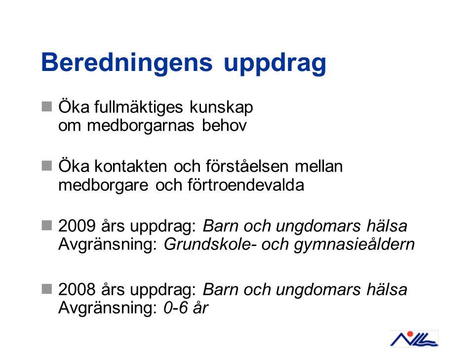 Beredningens uppdrag Öka fullmäktiges kunskap om medborgarnas behov Öka kontakten och förståelsen mellan medborgare och förtroendevalda 2009 års uppdr