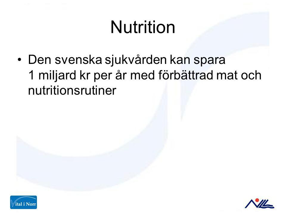 Nutrition Den svenska sjukvården kan spara 1 miljard kr per år med förbättrad mat och nutritionsrutiner