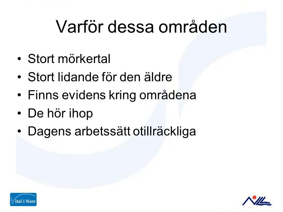 Varför dessa områden Stort mörkertal Stort lidande för den äldre Finns evidens kring områdena De hör ihop Dagens arbetssätt otillräckliga