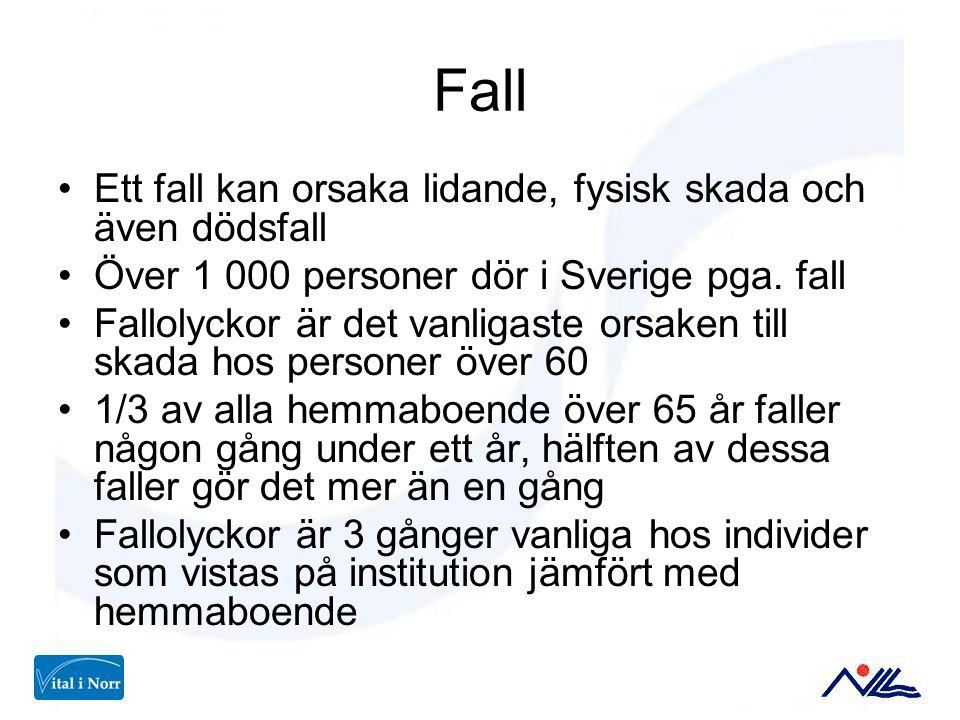 Fall Ett fall kan orsaka lidande, fysisk skada och även dödsfall Över 1 000 personer dör i Sverige pga. fall Fallolyckor är det vanligaste orsaken til