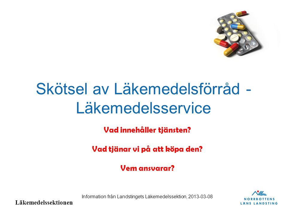 Läkemedelssektionen Skötsel av Läkemedelsförråd – Läkemedelsservice Landstinget köper idag tjänsten Läkemedelsservice från Apoteket AB.