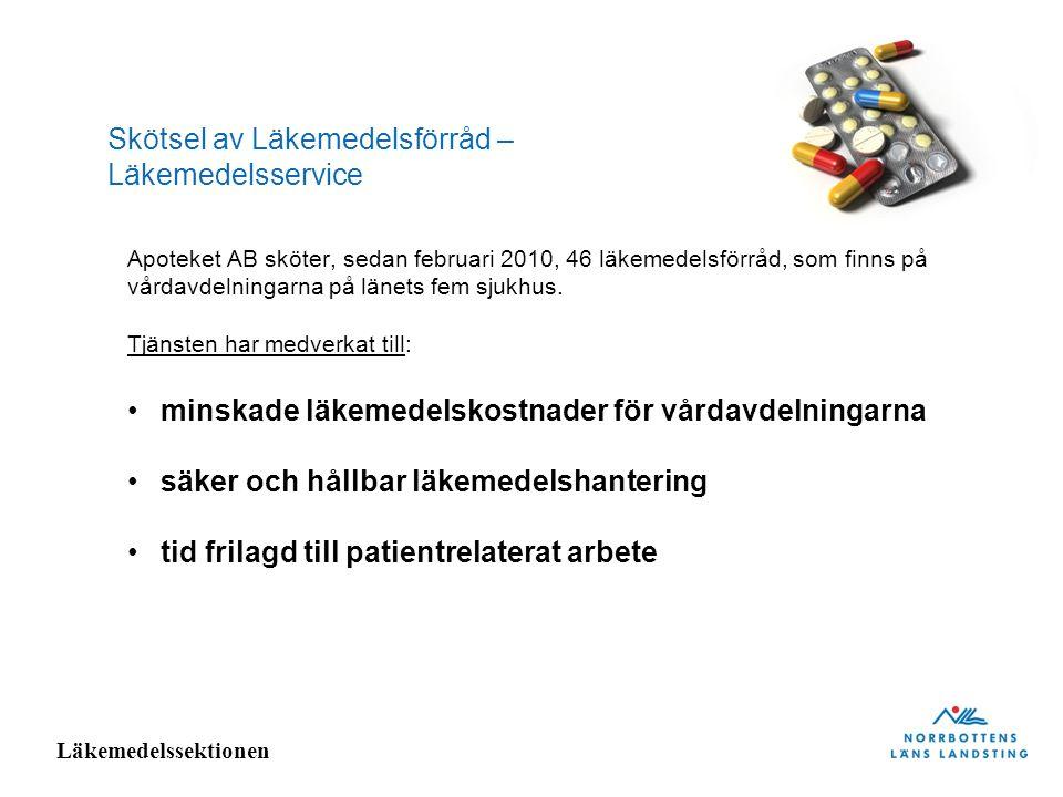 Läkemedelssektionen Skötsel av Läkemedelsförråd – Läkemedelsservice Apoteket AB sköter, sedan februari 2010, 46 läkemedelsförråd, som finns på vårdavd