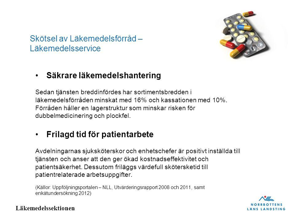 Läkemedelssektionen Skötsel av Läkemedelsförråd – Läkemedelsservice Säkrare läkemedelshantering Sedan tjänsten breddinfördes har sortimentsbredden i l