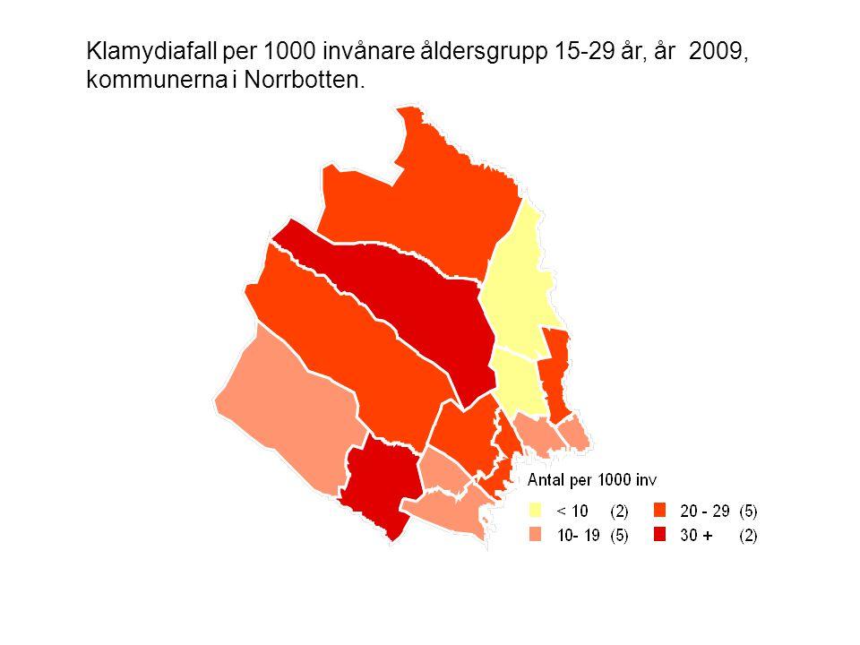 Klamydiafall per 1000 invånare åldersgrupp 15-29 år, år 2009, kommunerna i Norrbotten.