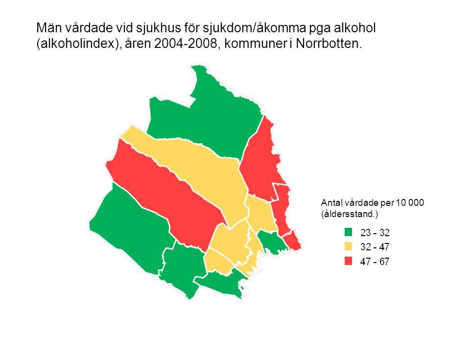 Män vårdade vid sjukhus för sjukdom/åkomma pga alkohol (alkoholindex), åren 2004-2008, kommuner i Norrbotten. Antal vårdade per 10 000 (åldersstand.)