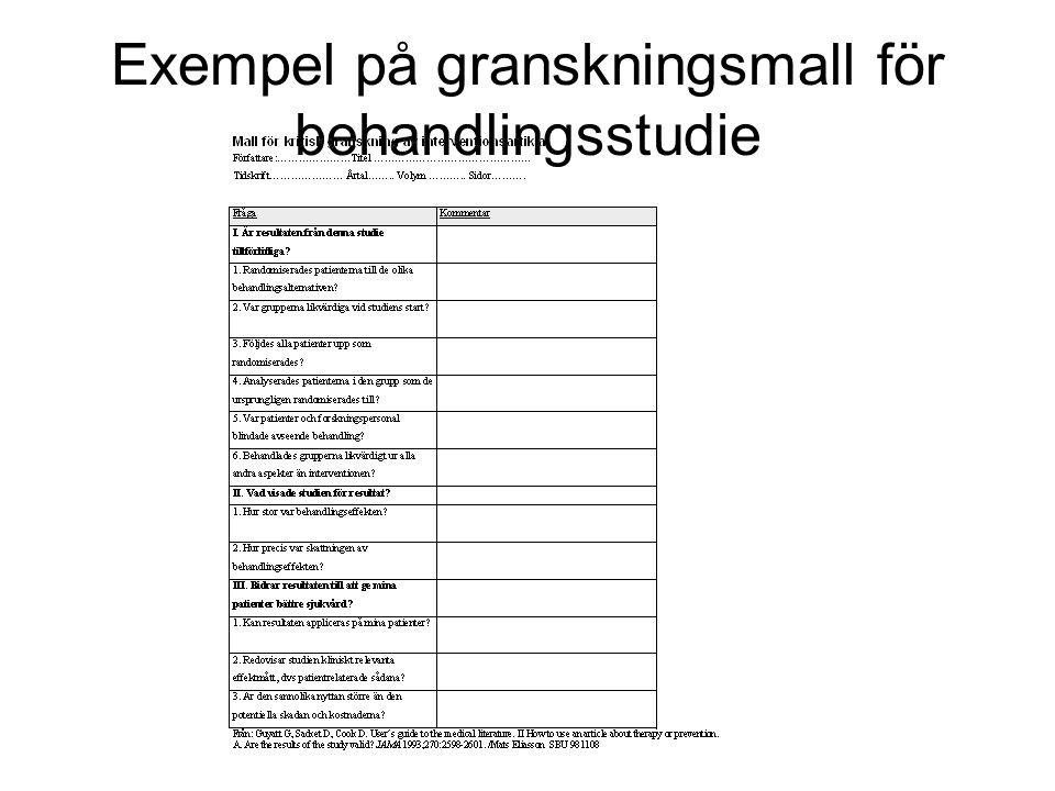 Exempel på granskningsmall för behandlingsstudie