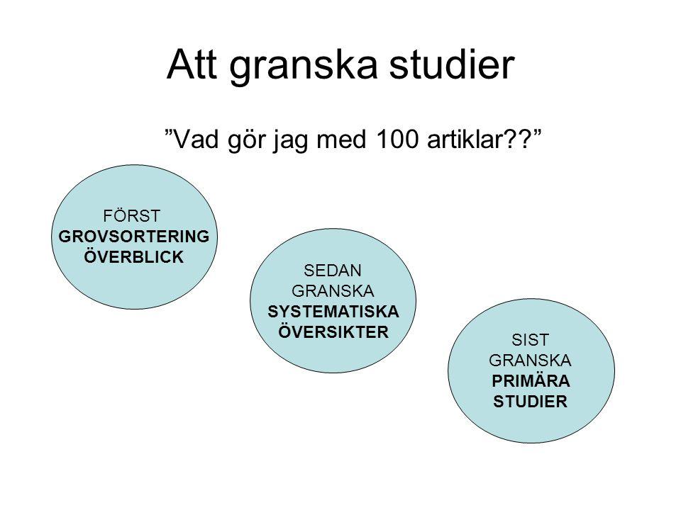 Att granska studier Vad gör jag med 100 artiklar?? FÖRST GROVSORTERING ÖVERBLICK SEDAN GRANSKA SYSTEMATISKA ÖVERSIKTER SIST GRANSKA PRIMÄRA STUDIER
