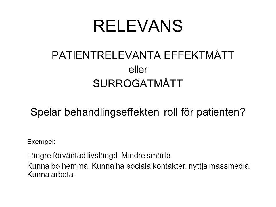 RELEVANS PATIENTRELEVANTA EFFEKTMÅTT eller SURROGATMÅTT Spelar behandlingseffekten roll för patienten.
