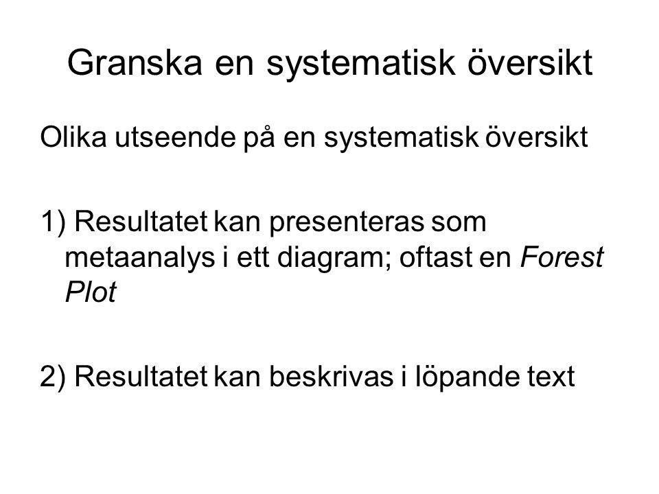 Exempel på metaanalys: forest plot