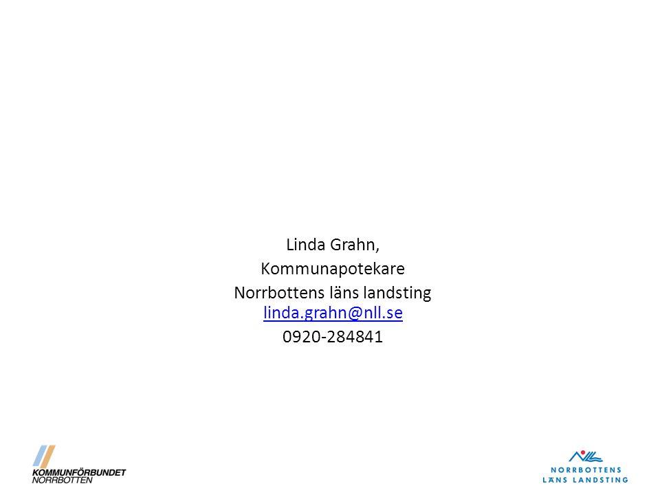 Linda Grahn, Kommunapotekare Norrbottens läns landsting linda.grahn@nll.se linda.grahn@nll.se 0920-284841
