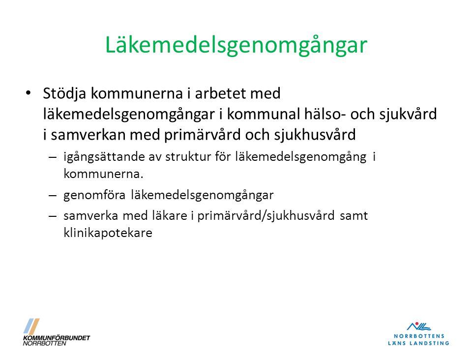 Läkemedelsgenomgångar Stödja kommunerna i arbetet med läkemedelsgenomgångar i kommunal hälso- och sjukvård i samverkan med primärvård och sjukhusvård