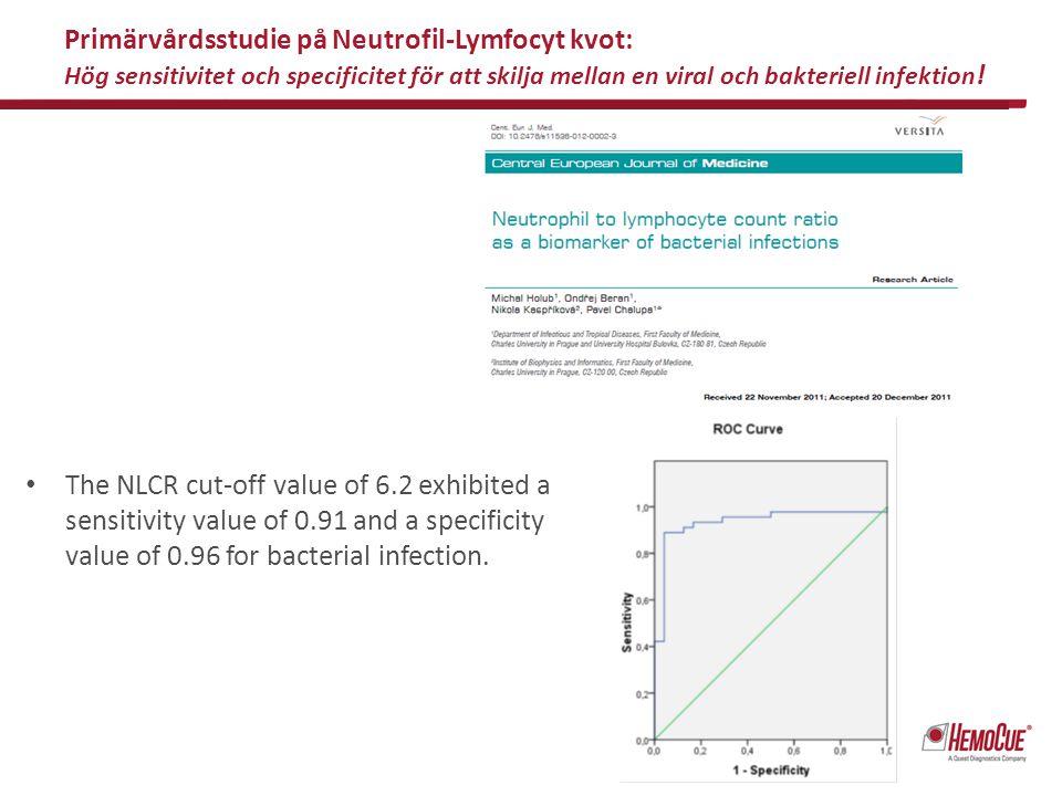 Primärvårdsstudie på Neutrofil-Lymfocyt kvot: Hög sensitivitet och specificitet för att skilja mellan en viral och bakteriell infektion ! The NLCR cut