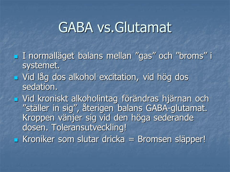 """GABA vs.Glutamat I normalläget balans mellan """"gas"""" och """"broms"""" i systemet. I normalläget balans mellan """"gas"""" och """"broms"""" i systemet. Vid låg dos alkoh"""