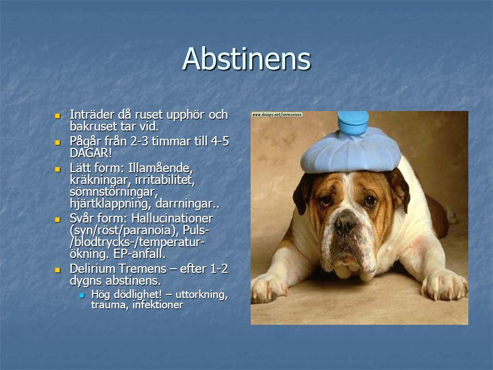 Abstinens Inträder då ruset upphör och bakruset tar vid. Inträder då ruset upphör och bakruset tar vid. Pågår från 2-3 timmar till 4-5 DAGAR! Pågår fr