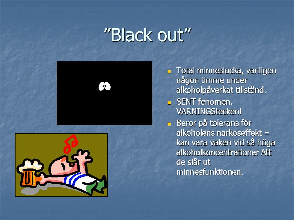 """""""Black out"""" Total minneslucka, vanligen någon timme under alkoholpåverkat tillstånd. SENT fenomen. VARNINGStecken! Beror på tolerans för alkoholens na"""