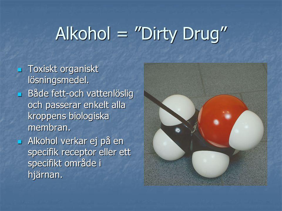 """Alkohol = """"Dirty Drug"""" Toxiskt organiskt lösningsmedel. Toxiskt organiskt lösningsmedel. Både fett-och vattenlöslig och passerar enkelt alla kroppens"""