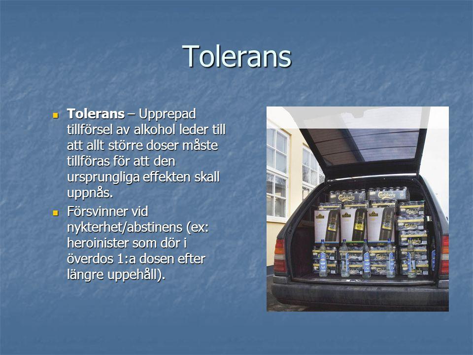 Tolerans Tolerans – Upprepad tillförsel av alkohol leder till att allt större doser måste tillföras för att den ursprungliga effekten skall uppnås. To