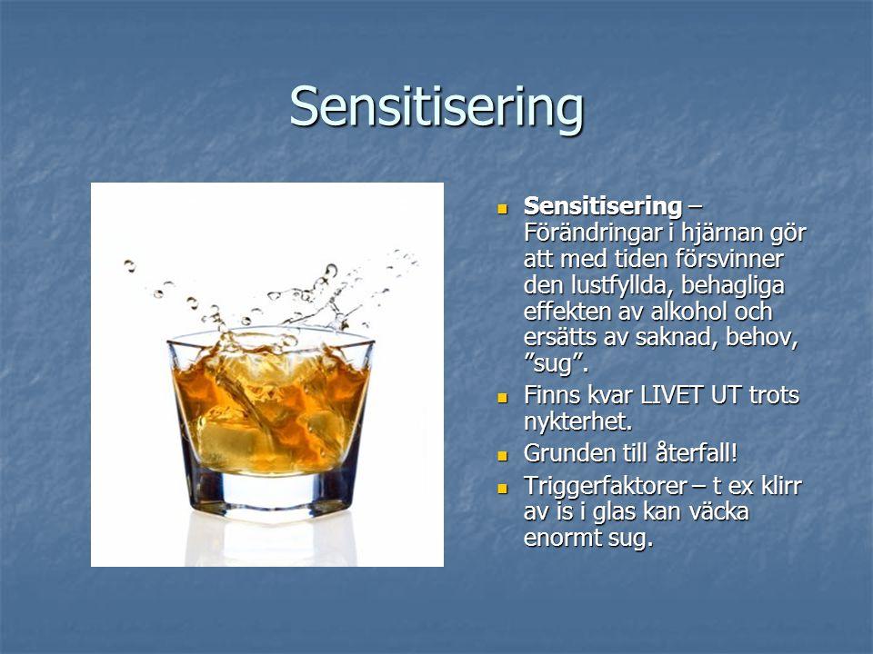 Sensitisering Sensitisering – Förändringar i hjärnan gör att med tiden försvinner den lustfyllda, behagliga effekten av alkohol och ersätts av saknad, behov, sug .