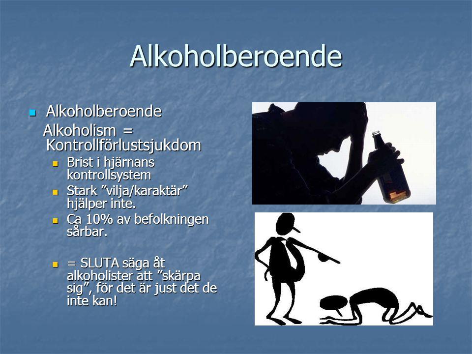 Alkoholberoende Alkoholberoende Alkoholberoende Alkoholism = Kontrollförlustsjukdom Alkoholism = Kontrollförlustsjukdom Brist i hjärnans kontrollsyste
