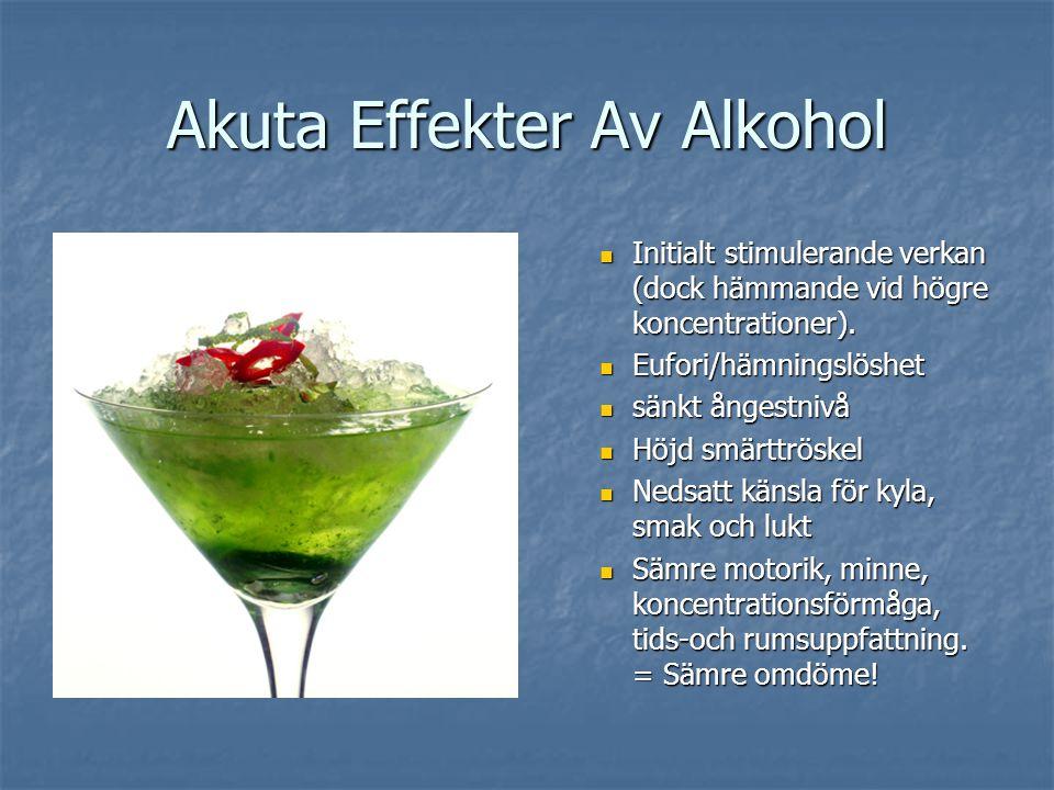 Akuta Effekter Av Alkohol Initialt stimulerande verkan (dock hämmande vid högre koncentrationer). Eufori/hämningslöshet sänkt ångestnivå Höjd smärttrö