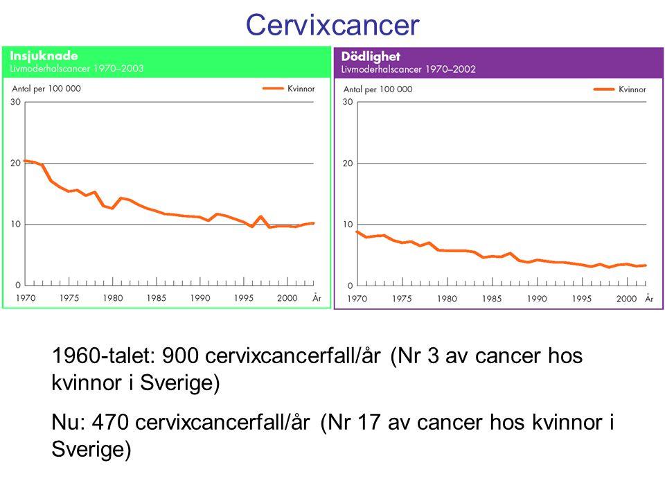 1960-talet: 900 cervixcancerfall/år (Nr 3 av cancer hos kvinnor i Sverige) Nu: 470 cervixcancerfall/år (Nr 17 av cancer hos kvinnor i Sverige) Cervixc