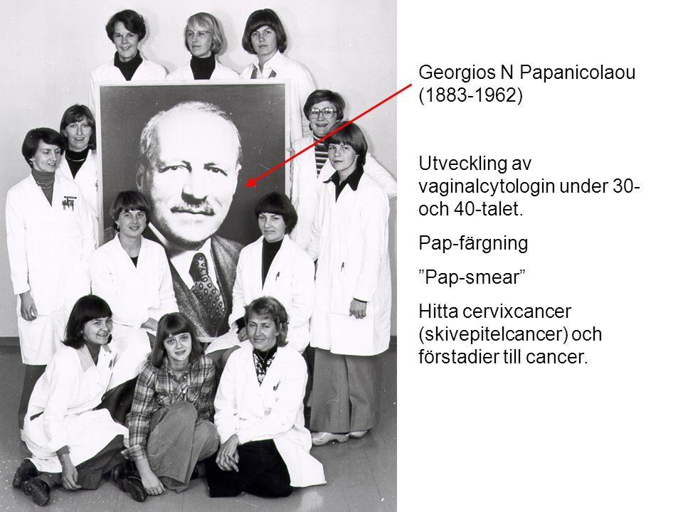"""Georgios N Papanicolaou (1883-1962) Utveckling av vaginalcytologin under 30- och 40-talet. Pap-färgning """"Pap-smear"""" Hitta cervixcancer (skivepitelcanc"""