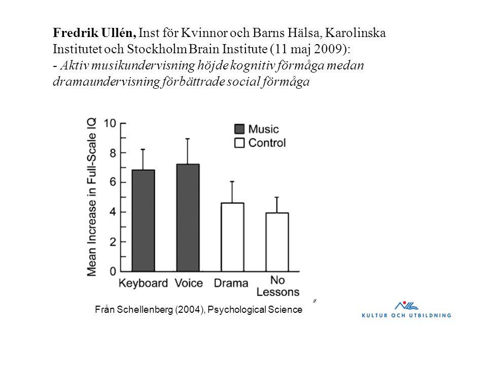 Fredrik Ullén, Inst för Kvinnor och Barns Hälsa, Karolinska Institutet och Stockholm Brain Institute (11 maj 2009): - Aktiv musikundervisning höjde ko