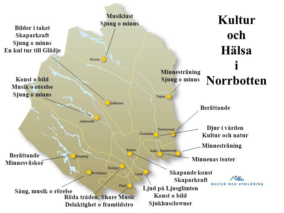 Kultur och Hälsa i Norrbotten Musiklust Sjung o minns Bilder i taket Skaparkraft Sjung o minns En kul tur till Glädje Konst o bild Musik o rörelse Sju
