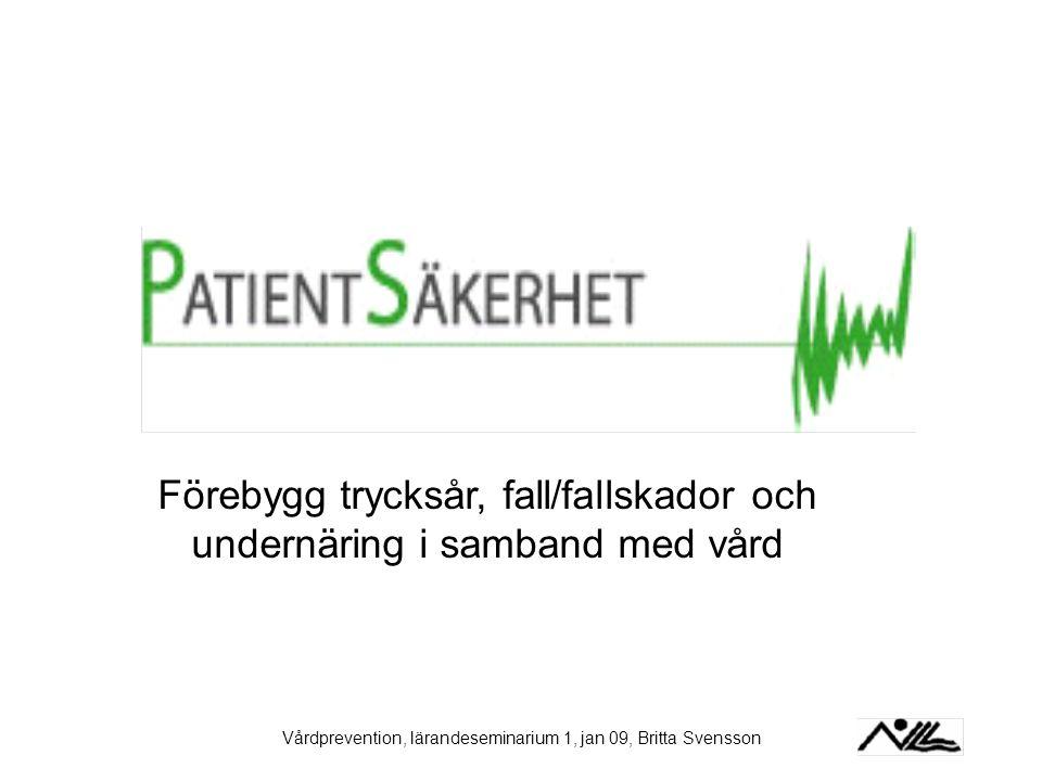 Vårdprevention, lärandeseminarium 1, jan 09, Britta Svensson Förebygg trycksår, fall/fallskador och undernäring i samband med vård