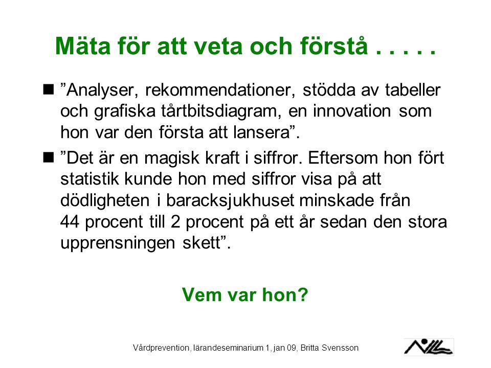 """Vårdprevention, lärandeseminarium 1, jan 09, Britta Svensson Mäta för att veta och förstå..... """"Analyser, rekommendationer, stödda av tabeller och gra"""
