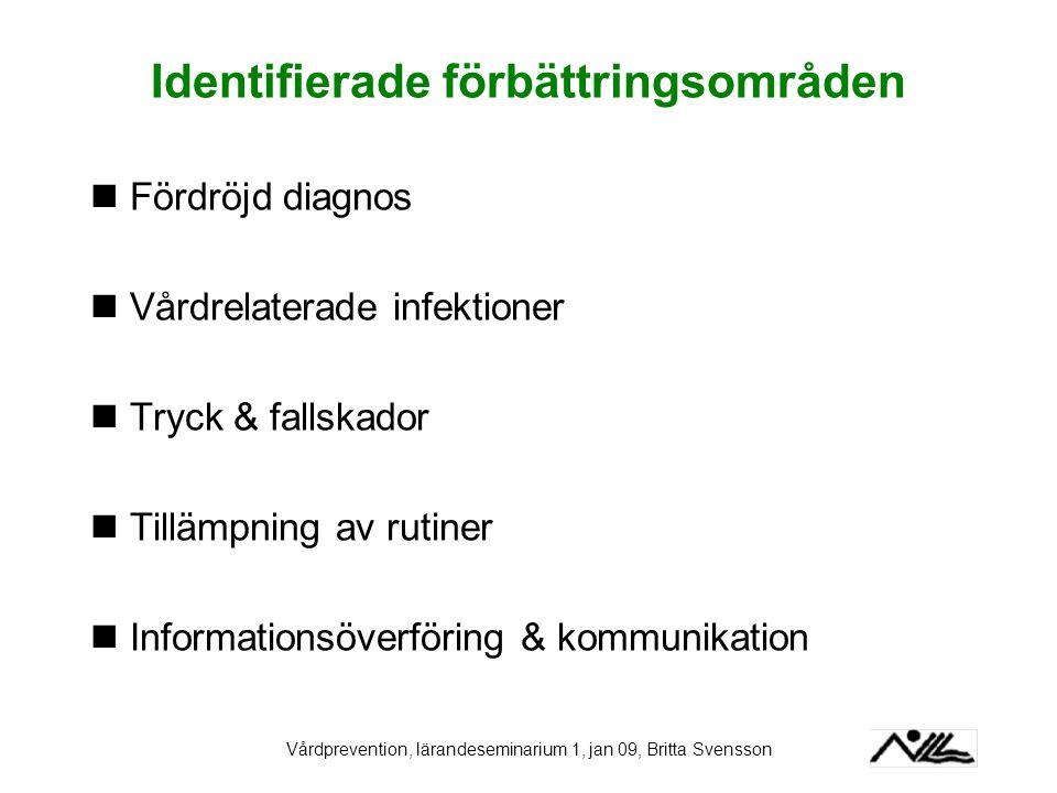 Vårdprevention, lärandeseminarium 1, jan 09, Britta Svensson Identifierade förbättringsområden Fördröjd diagnos Vårdrelaterade infektioner Tryck & fal