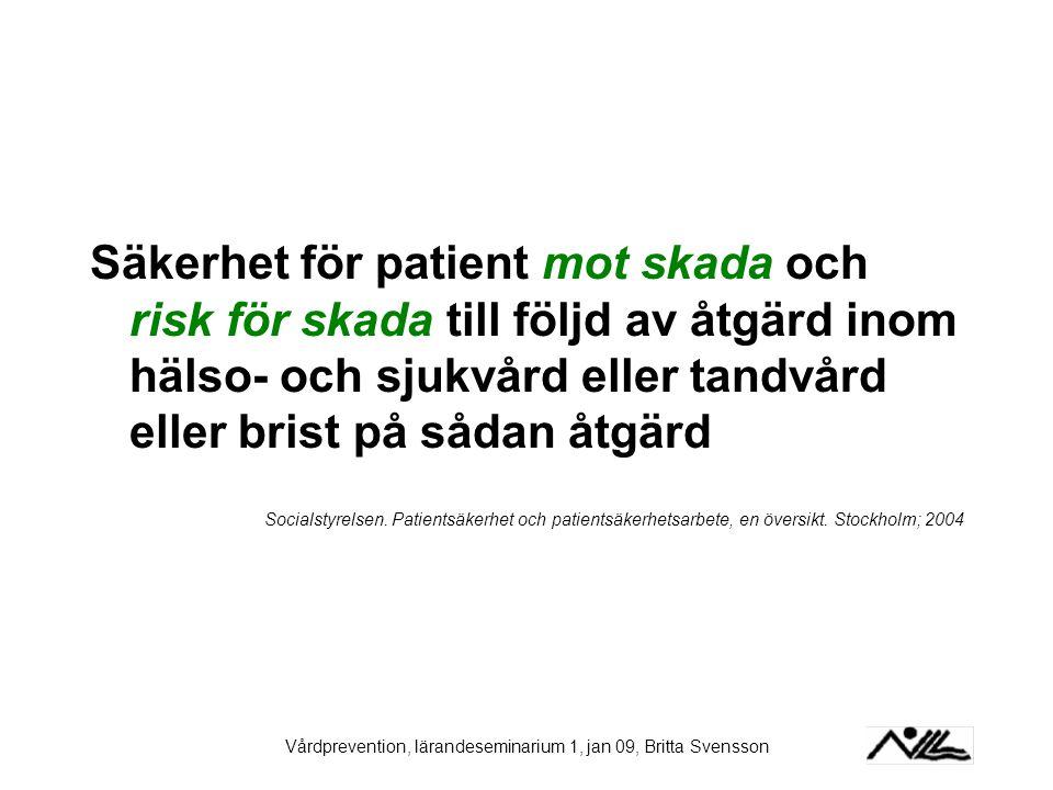 Vårdprevention, lärandeseminarium 1, jan 09, Britta Svensson Säkerhet för patient mot skada och risk för skada till följd av åtgärd inom hälso- och sj