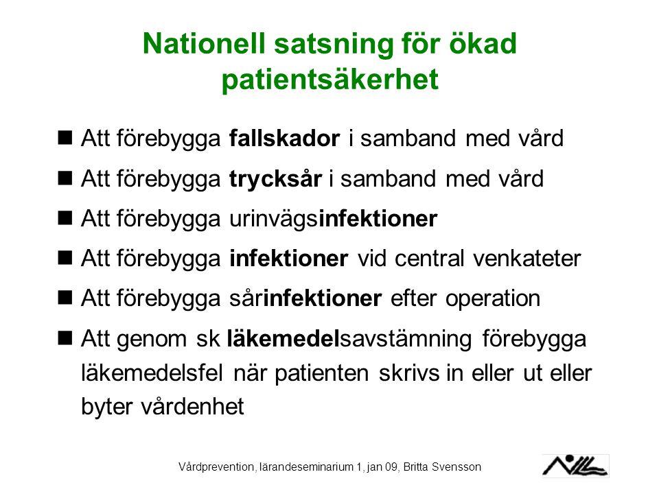 Vårdprevention, lärandeseminarium 1, jan 09, Britta Svensson Nationell satsning för ökad patientsäkerhet Att förebygga fallskador i samband med vård A