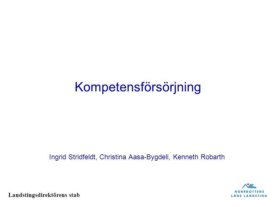 Landstingsdirektörens stab Kompetensförsörjning Ingrid Stridfeldt, Christina Aasa-Bygdell, Kenneth Robarth