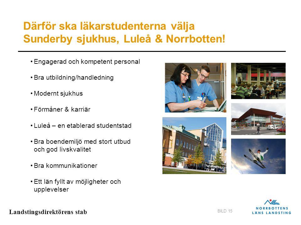 Landstingsdirektörens stab BILD 15 Engagerad och kompetent personal Bra utbildning/handledning Modernt sjukhus Förmåner & karriär Luleå – en etablerad