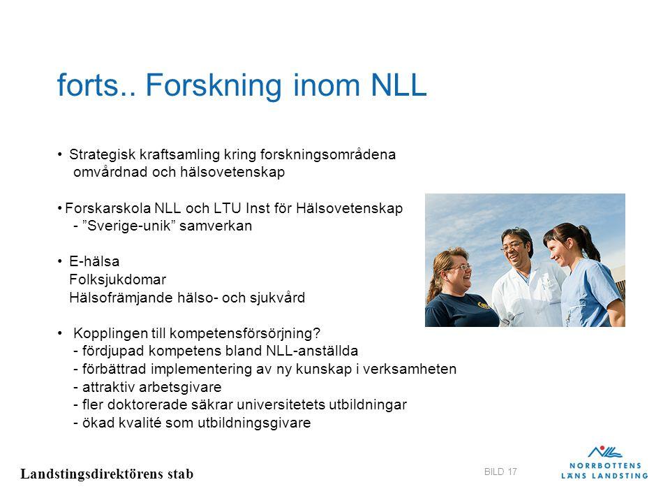 Landstingsdirektörens stab BILD 17 forts.. Forskning inom NLL Strategisk kraftsamling kring forskningsområdena omvårdnad och hälsovetenskap Forskarsko