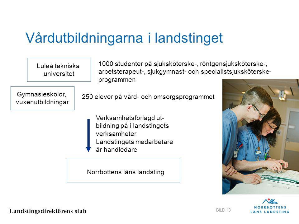 Landstingsdirektörens stab BILD 18 Vårdutbildningarna i landstinget Luleå tekniska universitet 1000 studenter på sjuksköterske-, röntgensjuksköterske-
