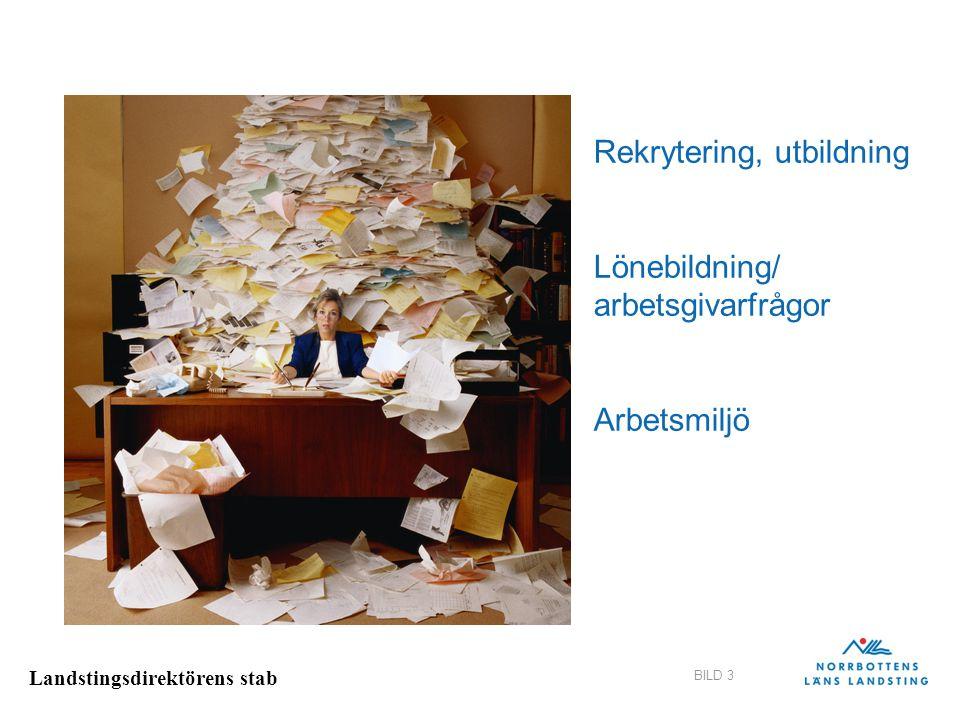 Landstingsdirektörens stab BILD 3 Rekrytering, utbildning Lönebildning/ arbetsgivarfrågor Arbetsmiljö
