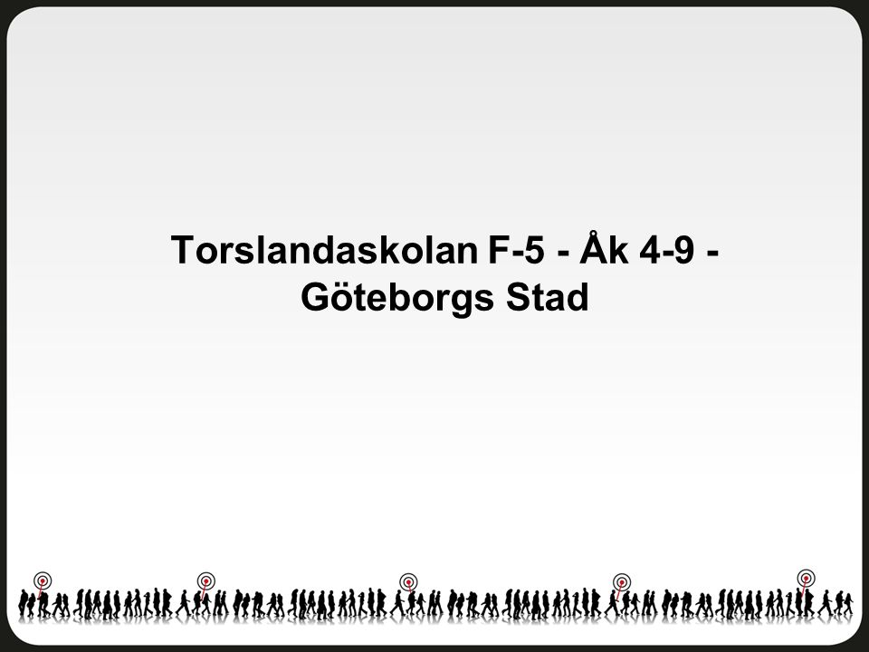 Helhetsintryck Torslandaskolan F-5 - Åk 4-9 - Göteborgs Stad Antal svar: 84