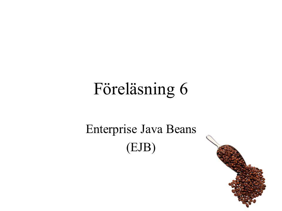 Affärslogiken De metoder som inte är obligatoriska brukar kallas för affärslogik Dessa metoder brukar vanligtvis inte använda databasen direkt –Tillåter separation mellan affärslogik och databasaccess Entity Bean exemplet